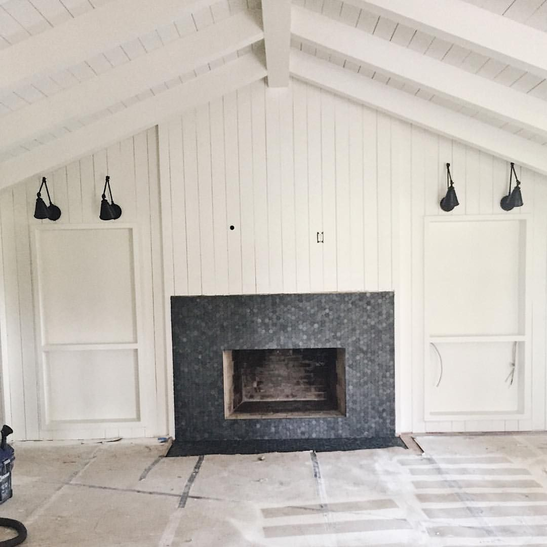 Modern Farmhouse Living Room With Vertical Shiplap Crag Black Hexagon Tile Fireplace