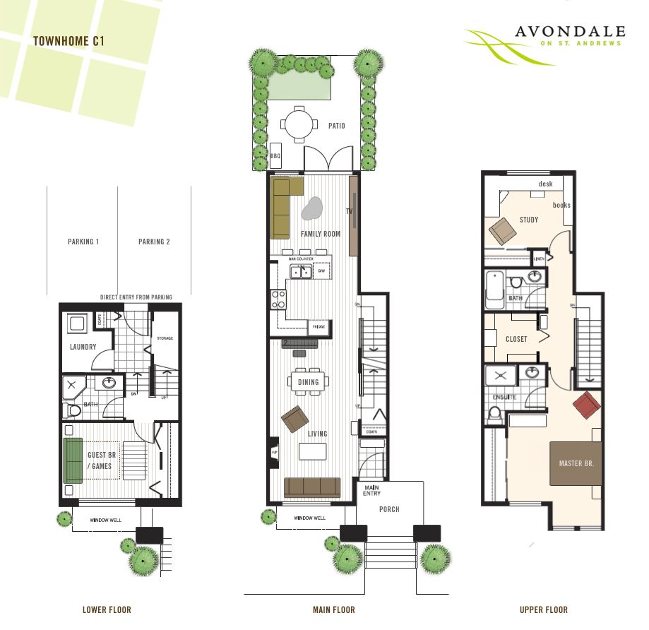 This avondale floor plan is one of the best family for 3 bedroom townhouse plans