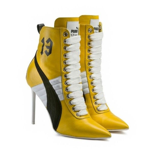LIMITED EDITION Puma X Rihanna Fenty High Heel Leather Yellow ($700) ❤  liked on