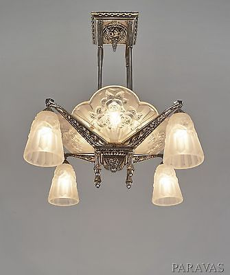 P Gilles Degue French Art Deco Chandelier 1930 Lamp Lustre Muller Era Art Deco Chandelier Art Deco Lamps French Art Deco