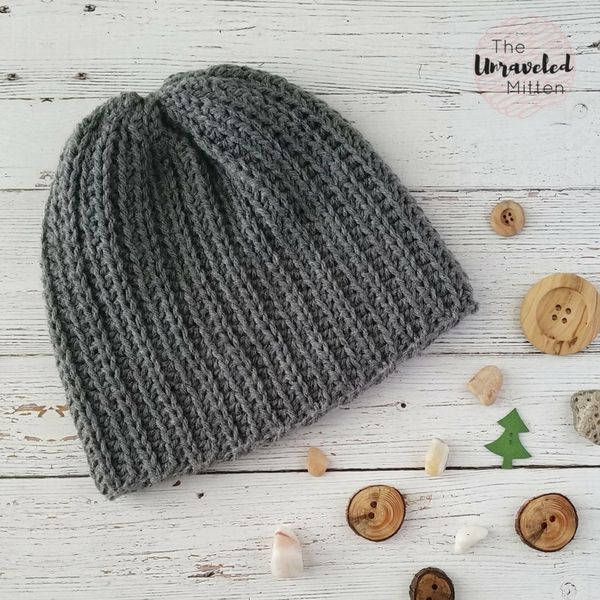 This knit look beanie is perfect for men or women! It is worked flat using  a combination of front and back loop stitches and then seamed up the back. 1064bd73f69