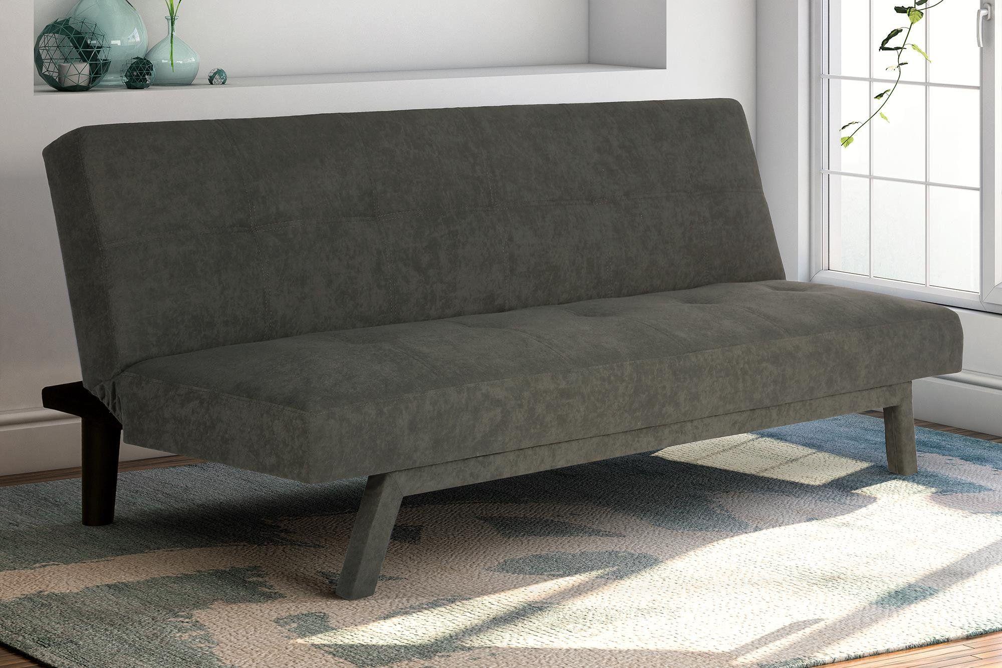 Premium Austin Convertible Sofa Sleeper Futon Rich Gray Microfiber