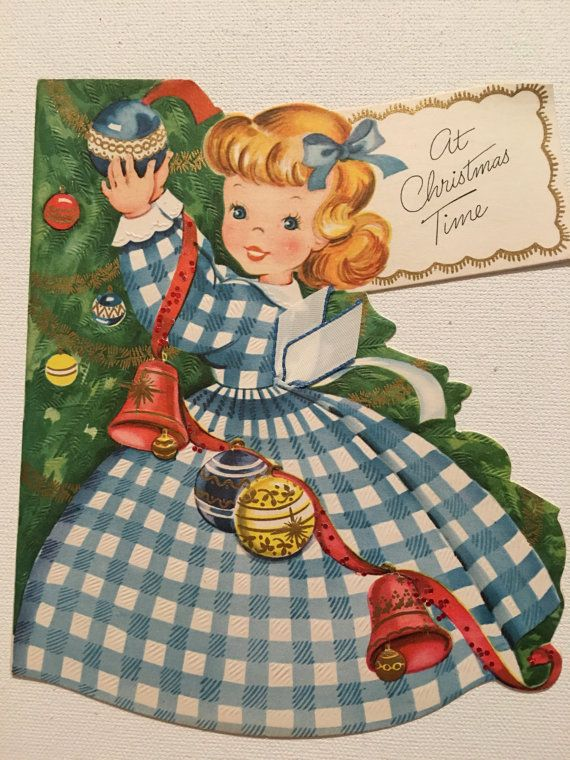 Reserved for Samantha Vintage Christmas Card Girl With Shiney