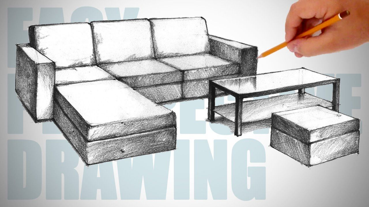How to draw furniture sofa Easy