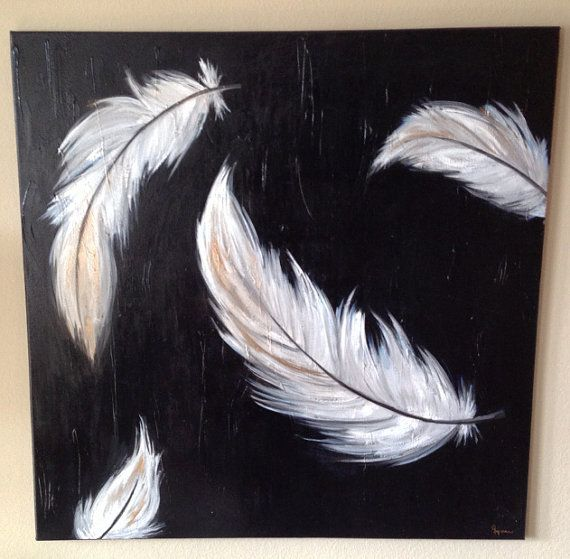 large acrylic painting on canvas feathers 36x36 ivey