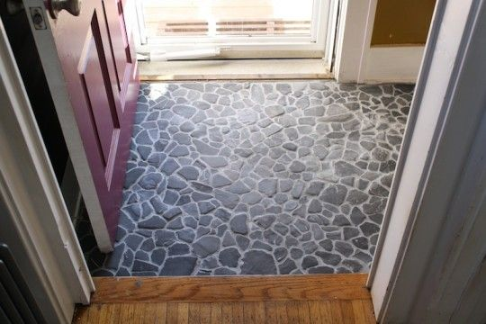 Incredible stone floor DIY from Emily Winters at Merrypad.
