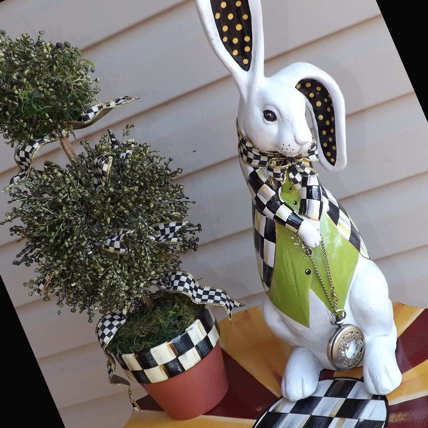 White Rabbit Figurine Hand Painted Whimsical Black And