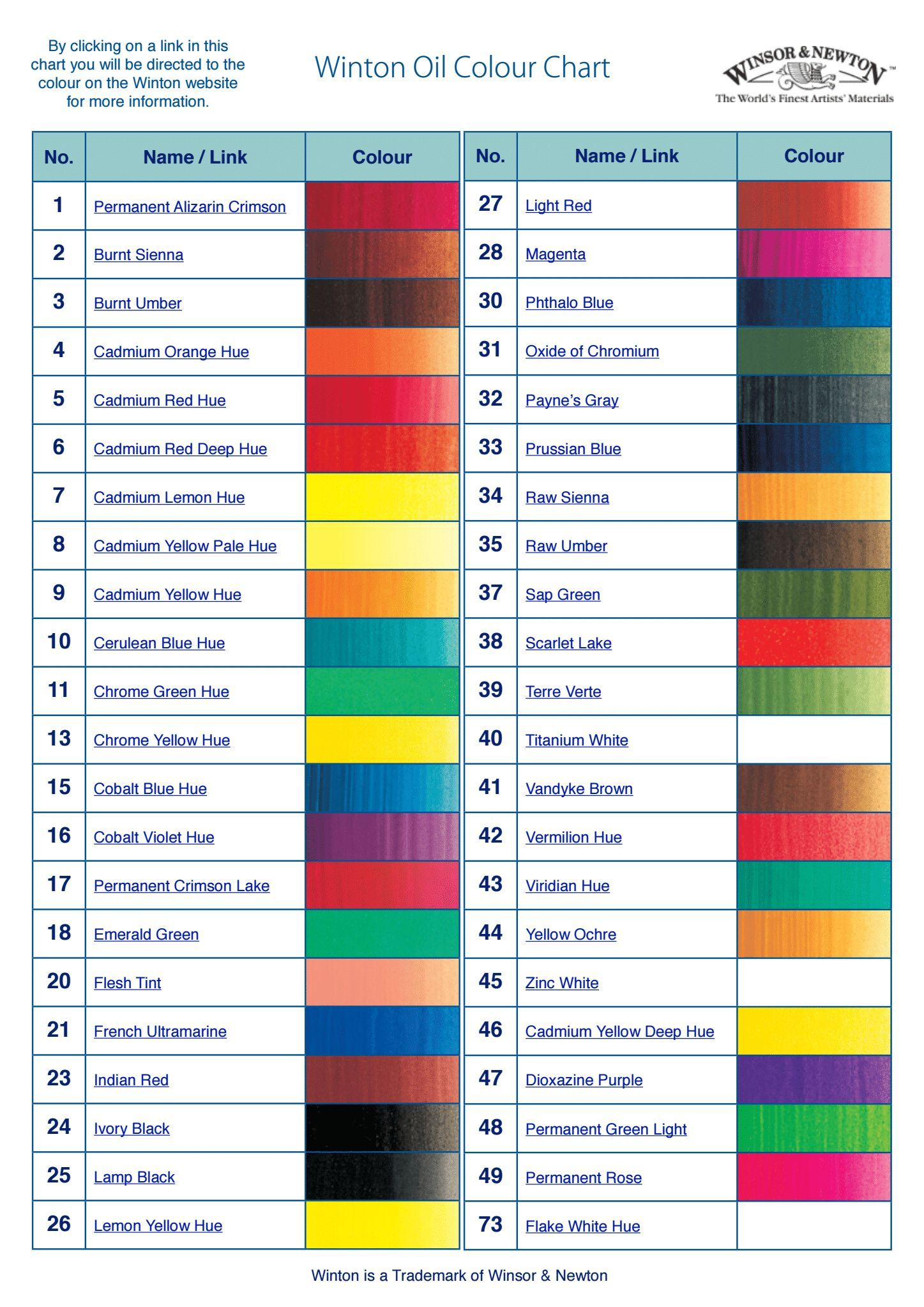 Dropbox winton colour chart pdf metal crafts paper clay also best craft material sources images rh pinterest