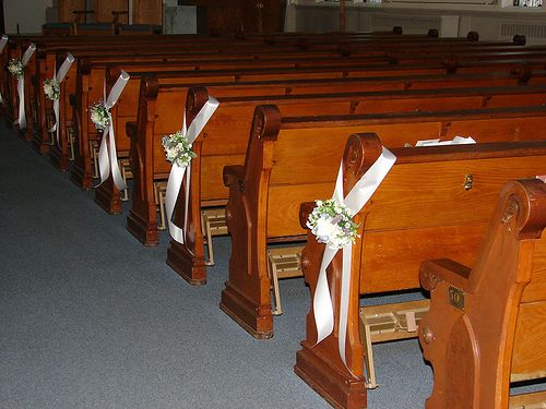Church pew end flowers and wedding decorations church pew and church pew end flowers and wedding decorations church pew and wedding chair pomander flowers pinterest wedding pews wedding pew decorations and pew junglespirit Gallery