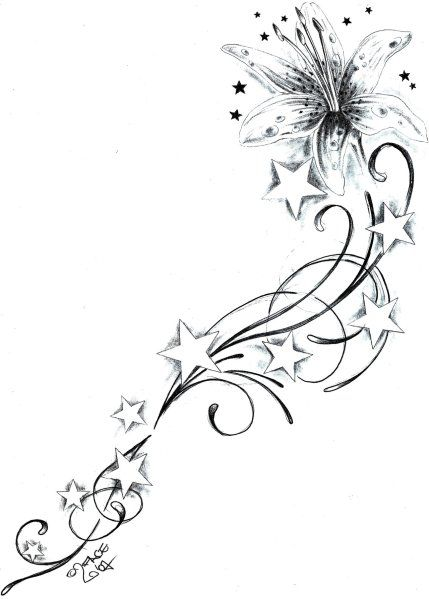 Flower Star Tattoo Designs Flowerstarstattoodesign By 2face Tattoo Fairies And Vampires Star Tattoos Star Tattoo Designs Tattoos
