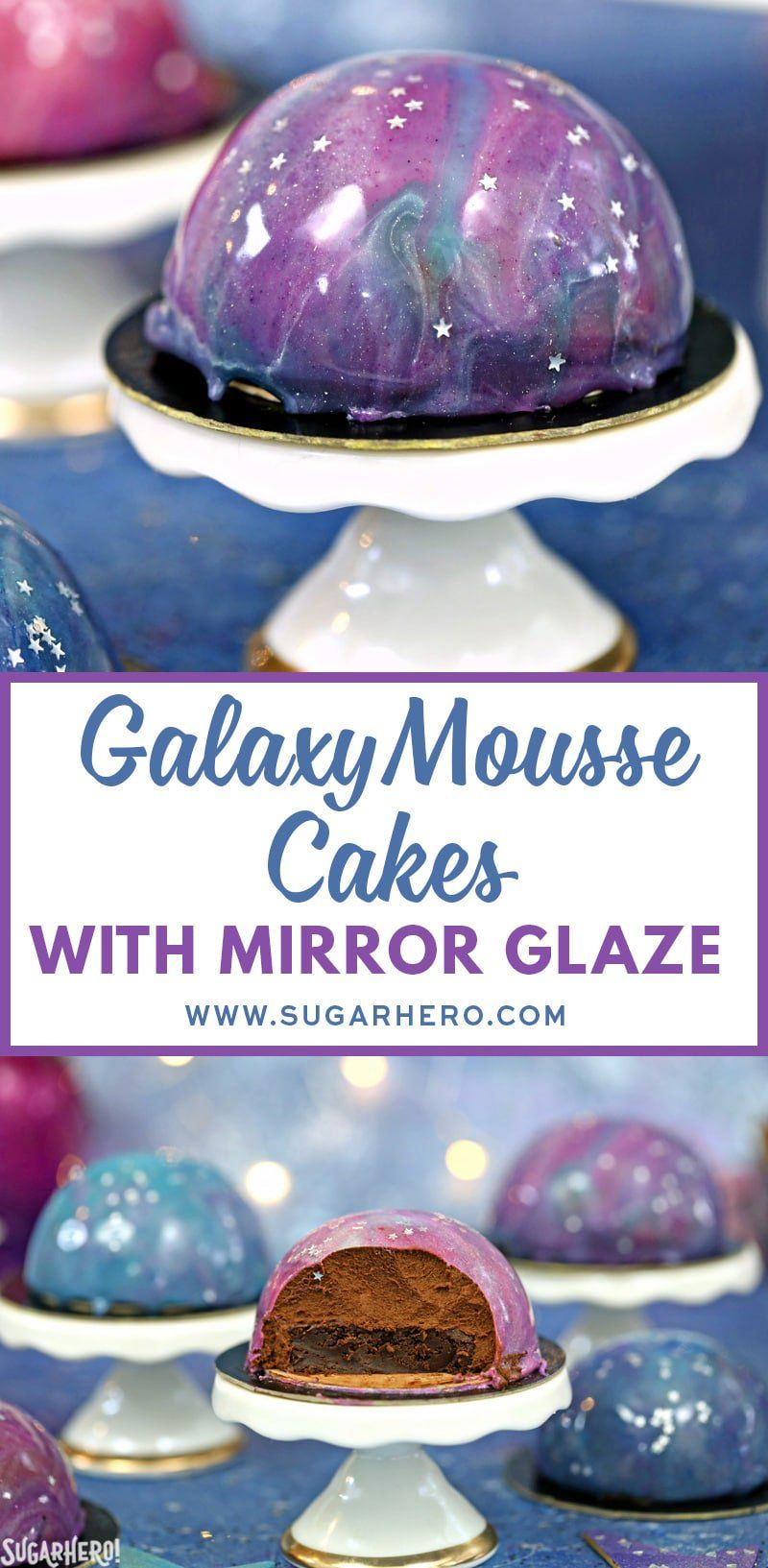 galaxy mousse cakes are almost too pretty to be real mini chocolate mousse cakes on a brownie b mirror glaze cake recipes chocolate mousse cake glaze for cake pinterest