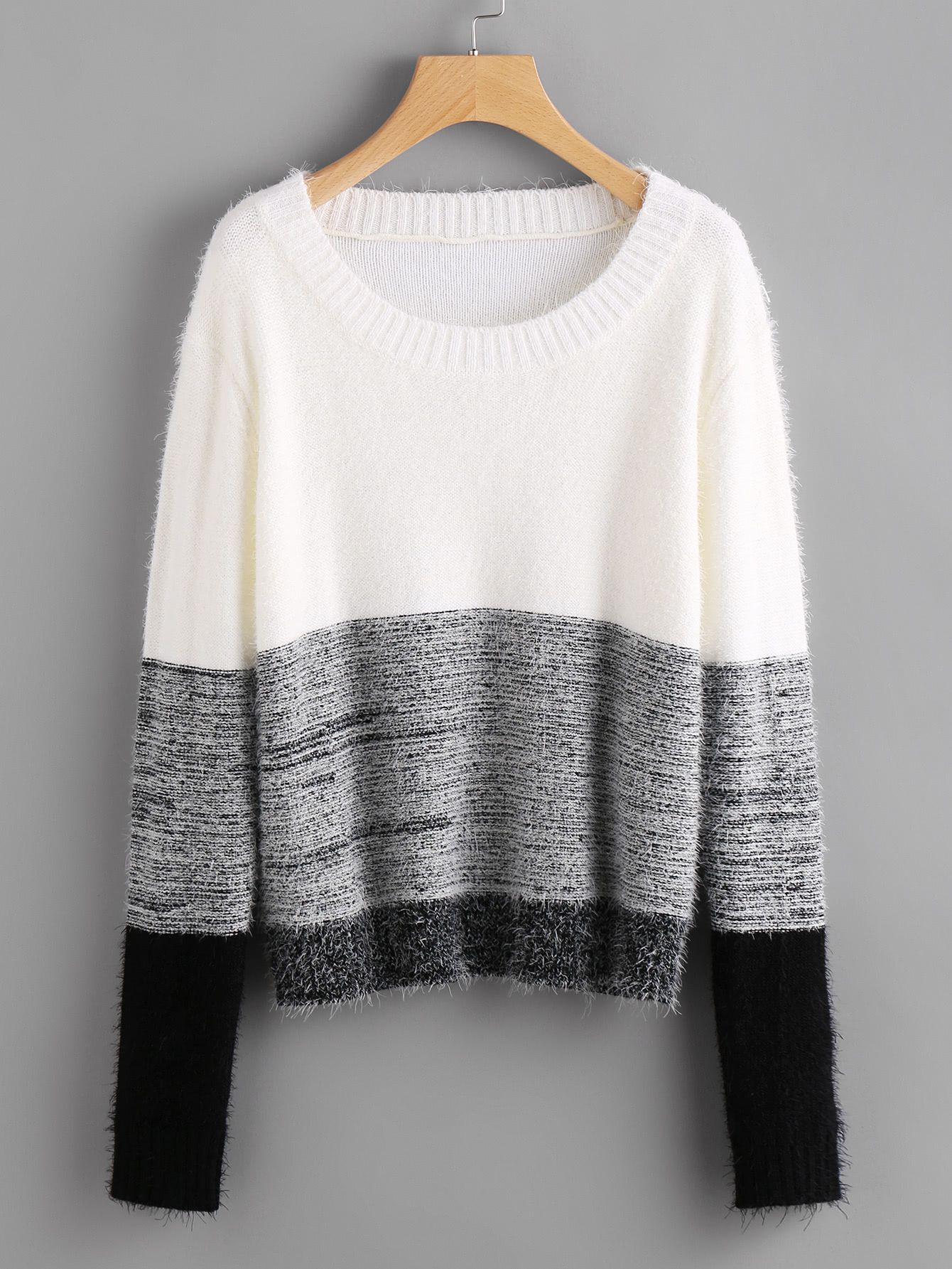 33c7d4aab7 Shop Color Block Fluffy Jumper online. SheIn offers Color Block Fluffy  Jumper & more to fit your fashionable needs.