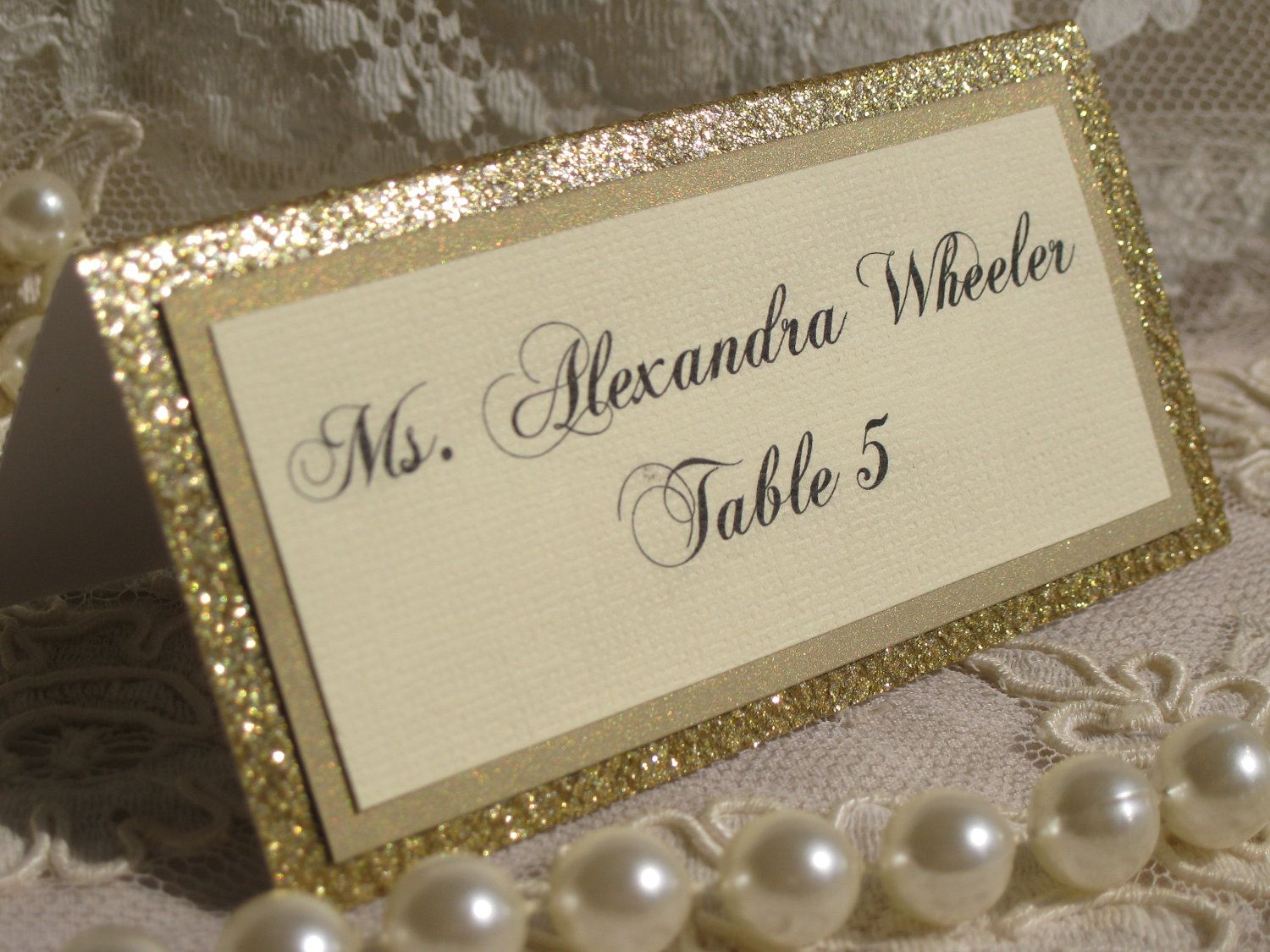 Gold Glitter Tented Place Cards Set of