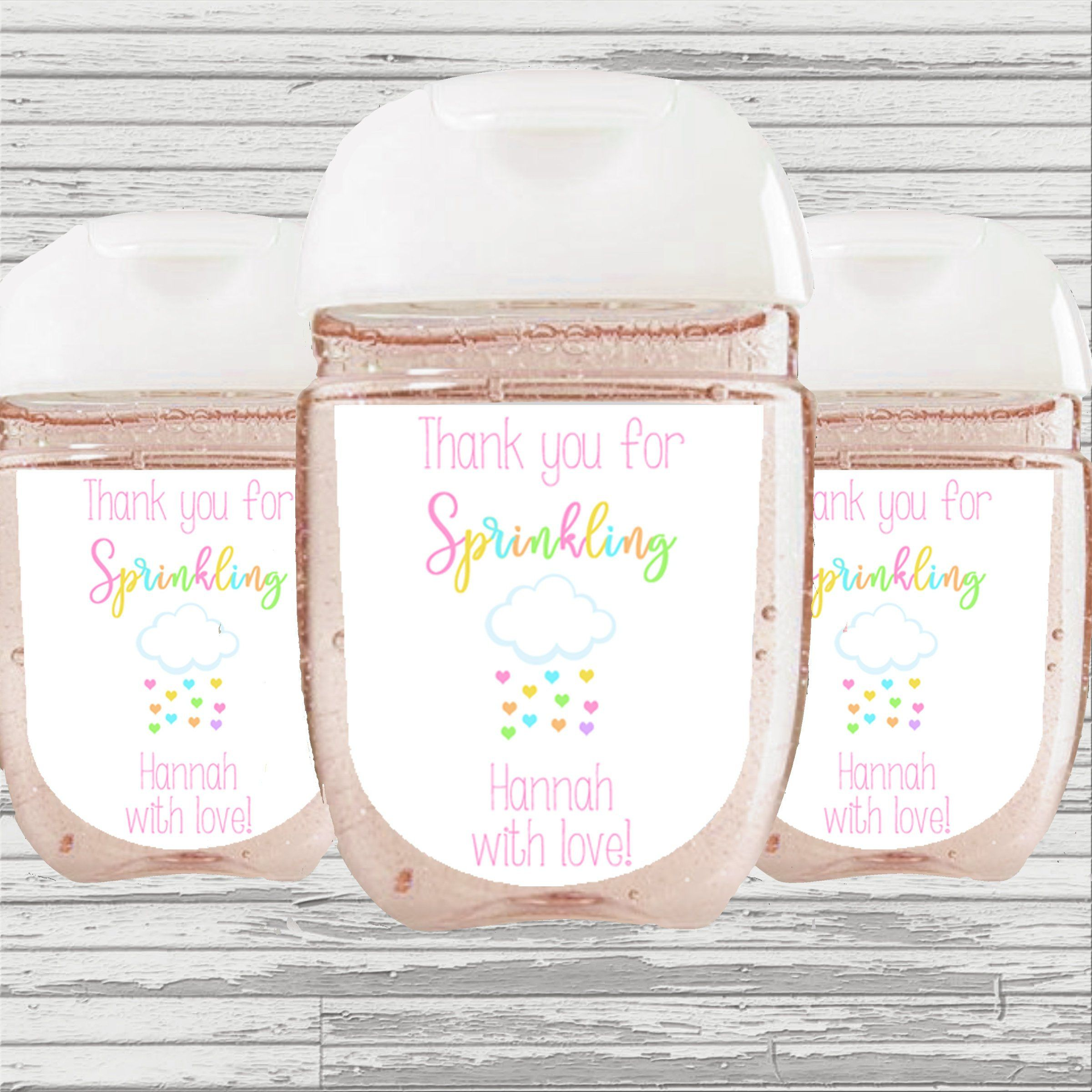 Sprinkled With Love Baby Shower Favor Hand Sanitizer Label