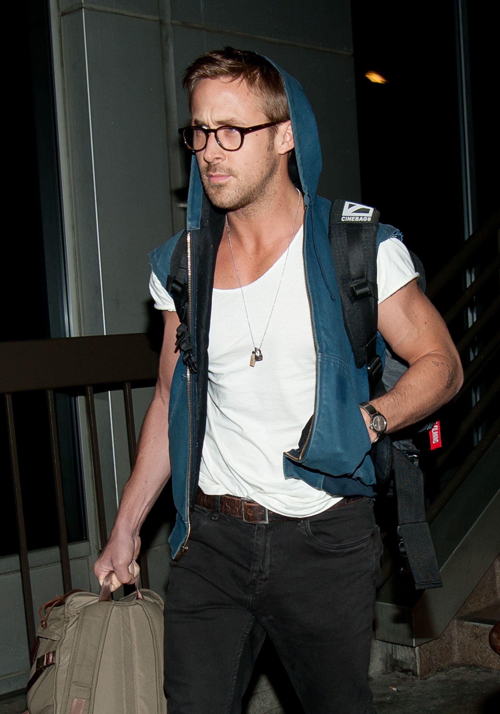 5501feb3df Ryan Gosling Rocks Sleeveless Hoodie at LAX