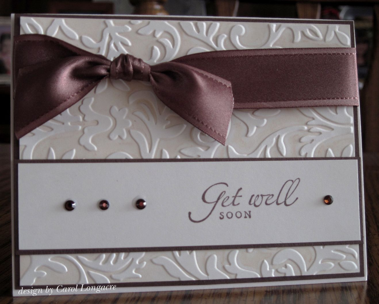 brown card for wedding invites%0A Simple Elegance card with ribbon and crystals