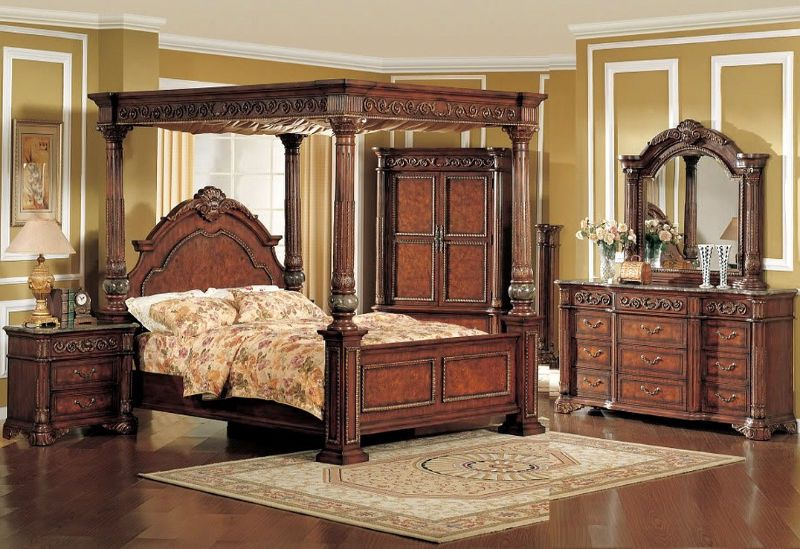 beautiful wooden italian style canopy 5 piece bedroom set i rh pinterest com