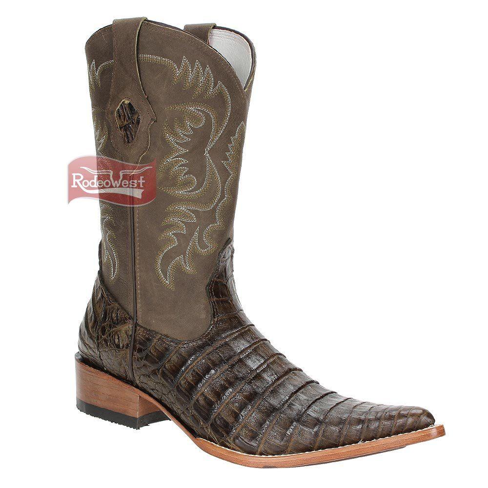 Bota Texana Exótica Jacaré Barriga Musgo Masculina - Goyazes - Rodeo West