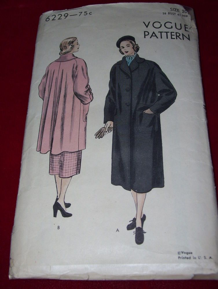 1948 ( POST WWII ) VOGUE #6229 - LADIES TWO LENGTH WINTER COAT PATTERN  20 FF #VOGUE