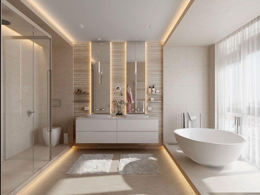 Modello di bagno con doppio lavabo di design - Bagno con doppio lavello ...