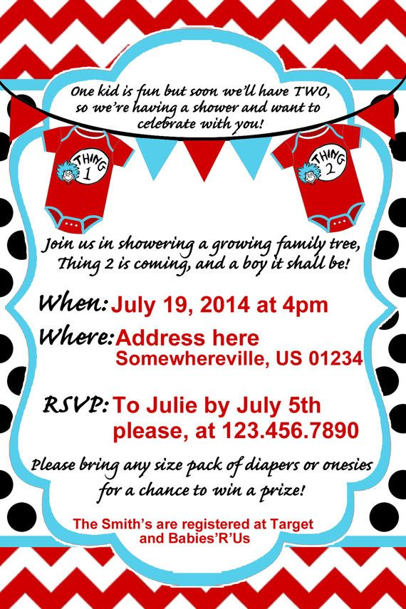 Thing 1 Thing 2 Baby Shower Invite by SRosadoDesigns on Etsy ...
