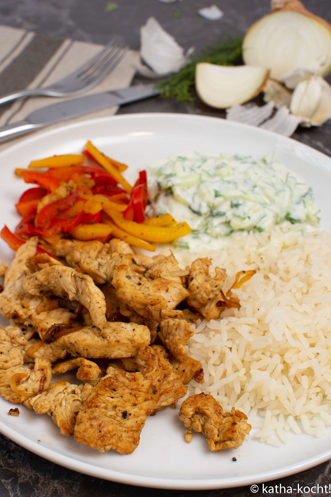 Putengyros mit Reis und Tsatziki - Katha-kocht! #healthyjuicerecipes