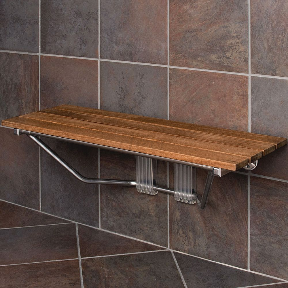 Clevr 36 Wall Mounted Double Folding Shower Bench Seat Teak Wood Modern Finished Chrome Walmart Com In 2020 Teak Shower Bench Teak Bathroom Teak Shower