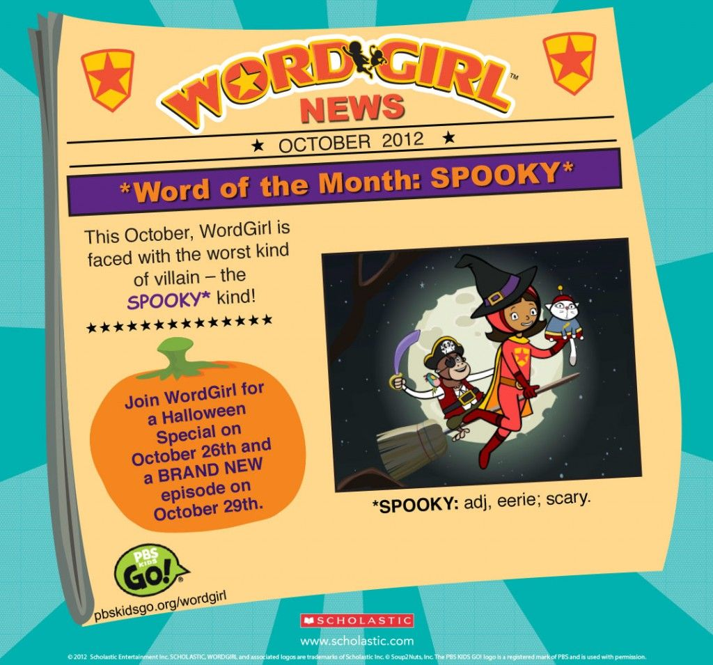 wordgirl word of the month - october, plus info on upcoming