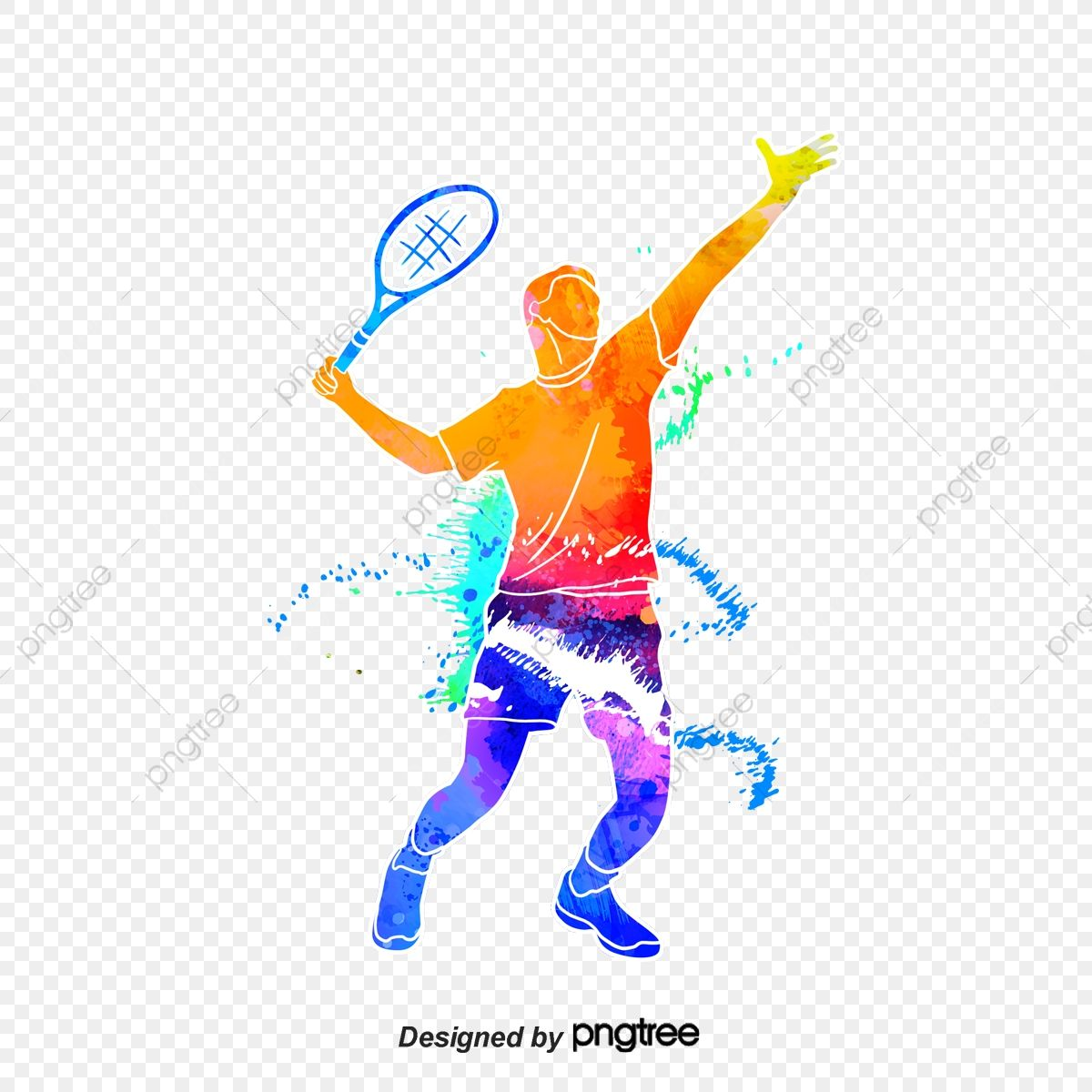 Silhouette Of Creative Tennis Players Multicolored Character Sports Png Transparent Clipart Image And Psd File In 2020 Tennis Players Sports Images Dance Background
