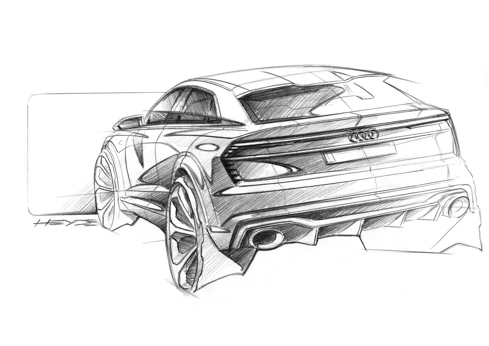 New Audi Q8 Sport Concept Is A 469hp Suv Heading Our Way Fast Carscoops Car Design Sketch Car Design Car Artwork