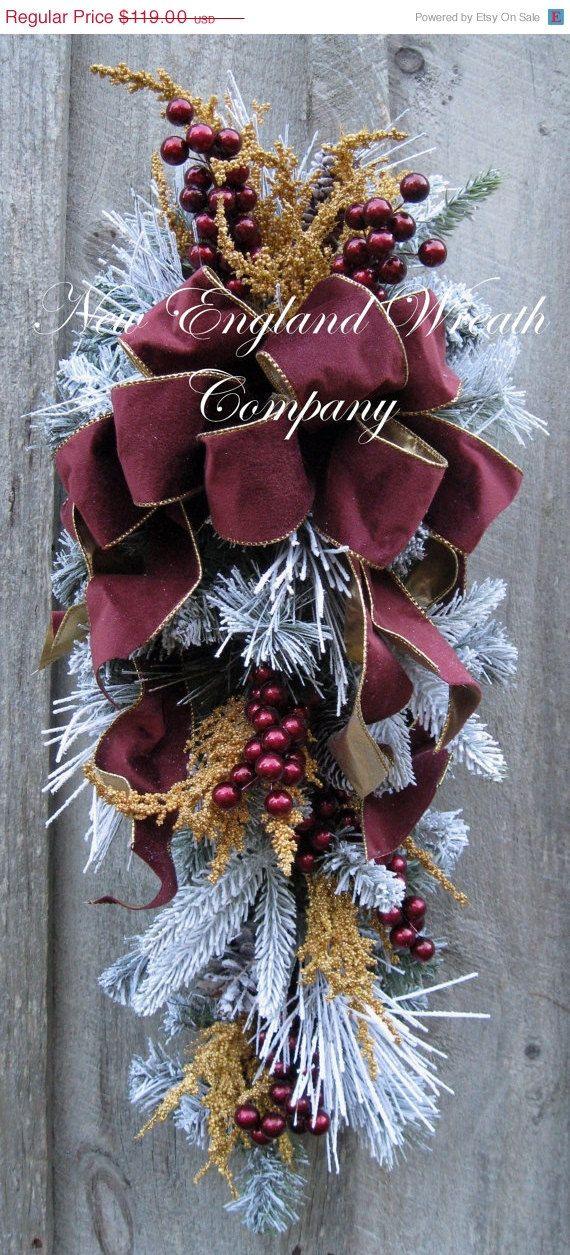 christmas wreath holiday wreath christmas swag victorian holiday burgundy designer swag elegant christmas wreath - Elegant Christmas Decorations For Sale