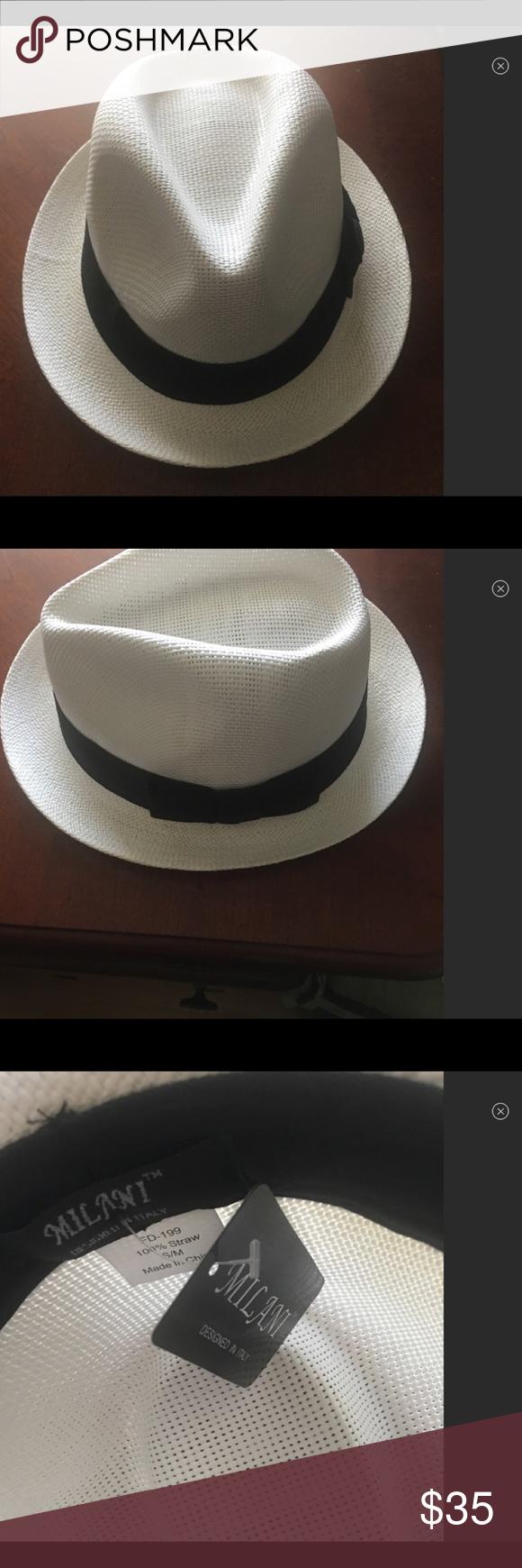 a46dfa03125f5 Spotted while shopping on Poshmark  Fedora Hat 100% Straw 🦋🎩NWT Milani  White!  poshmark  fashion  shopping  style  Milani  Other