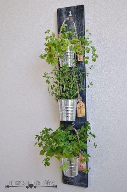 diy simple vertical kitchen herb garden container gardening
