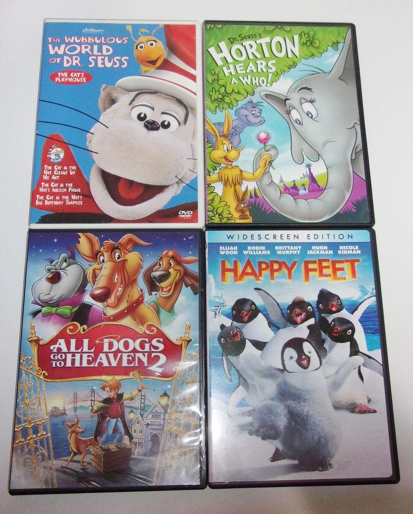 4 Kids Dvd Lot Horton Hears A Who Happy Feet All Dogs Go To Heaven 2 Dr Seuss Kids Dvd Cat Playhouse Seuss