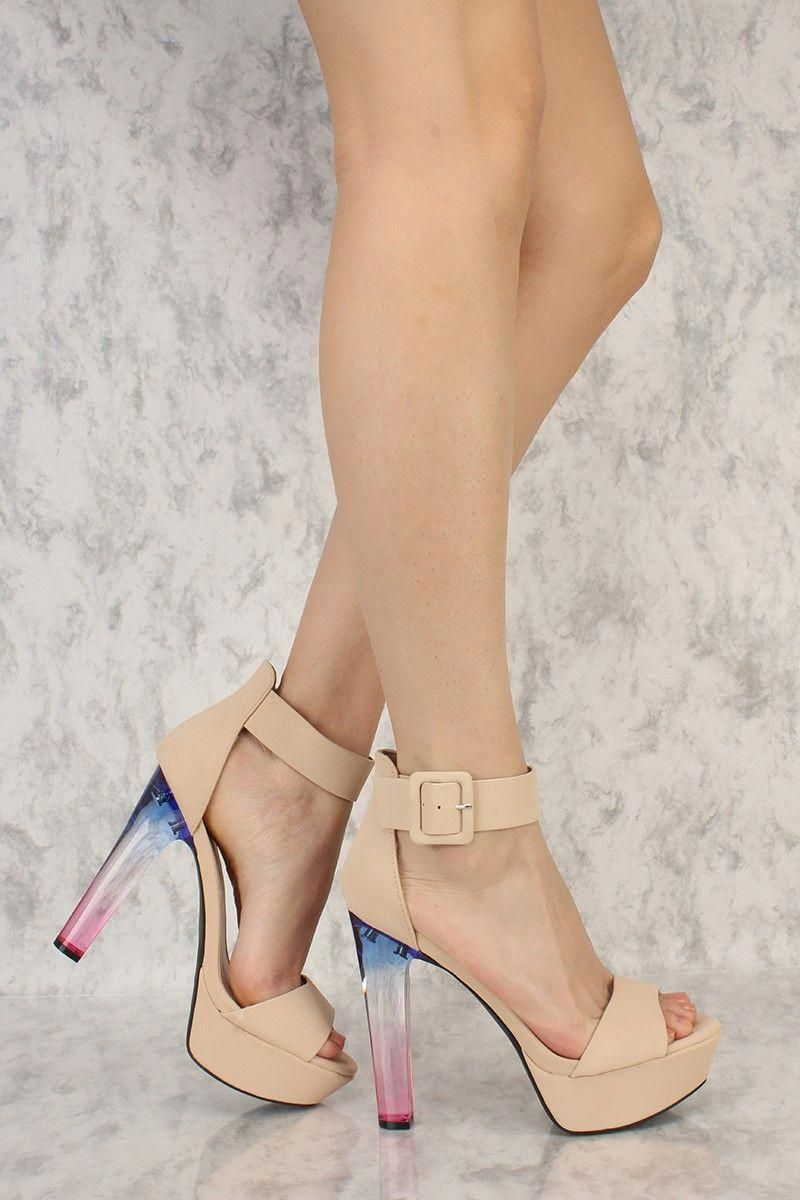 1527532fc54 Nude Peep Toe Platform Pump Gradient High Heels Nubuck Faux Leather   Platformpumps