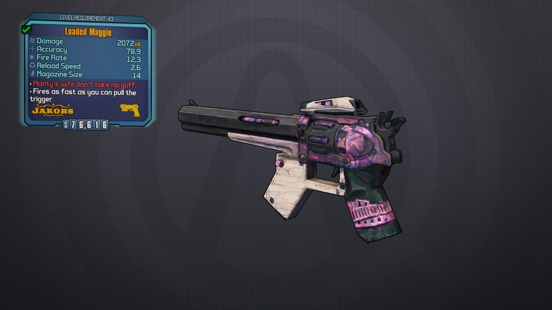 Maggie Legendary pistol Borderlands, Weapon concept art