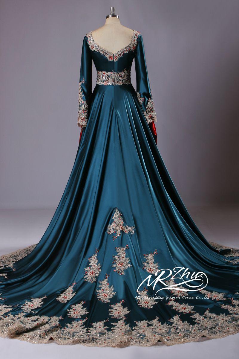 Real Sample 2015 Dubai Kaftan Appliqued Long Evening Gowns