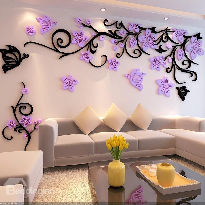 Fabulous Acrylic Three Dimensional Flower And Butterfly Pattern Home Decorative 3D Wall Stickers
