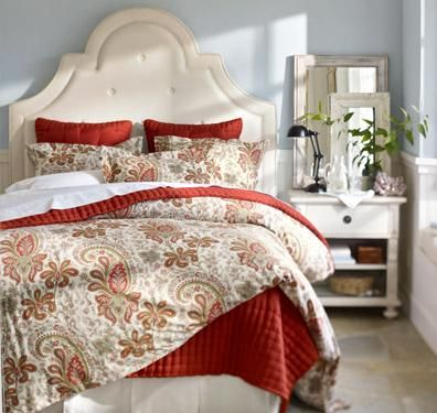 *Love the bedside table w/ layered mirrors. Bedroom Design