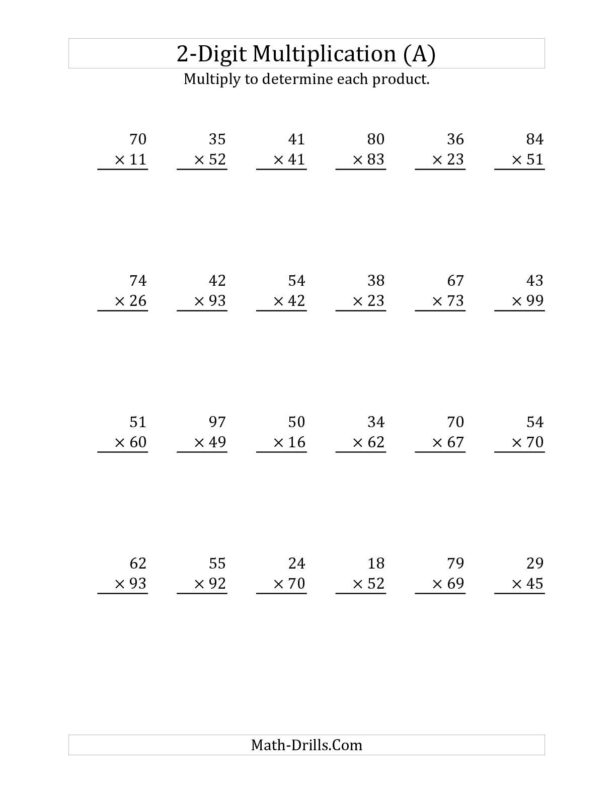 Multiplying a 2-Digit Number by a 2-Digit Number (A) Long Multiplication  Worksheet   Multiplication worksheets [ 1584 x 1224 Pixel ]