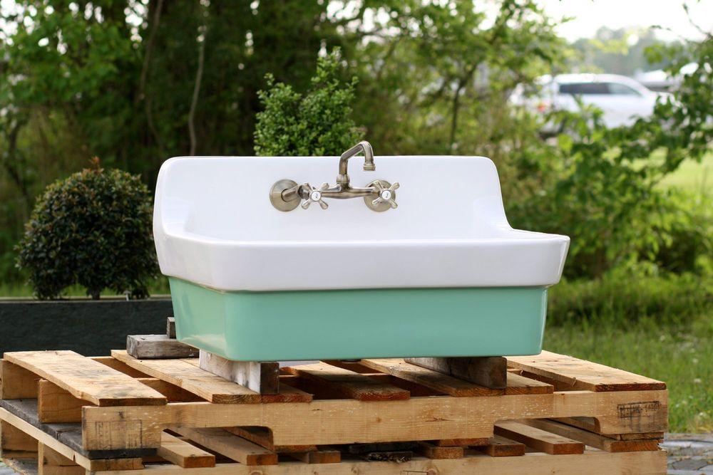 vintage style high back farm sink original porcelain