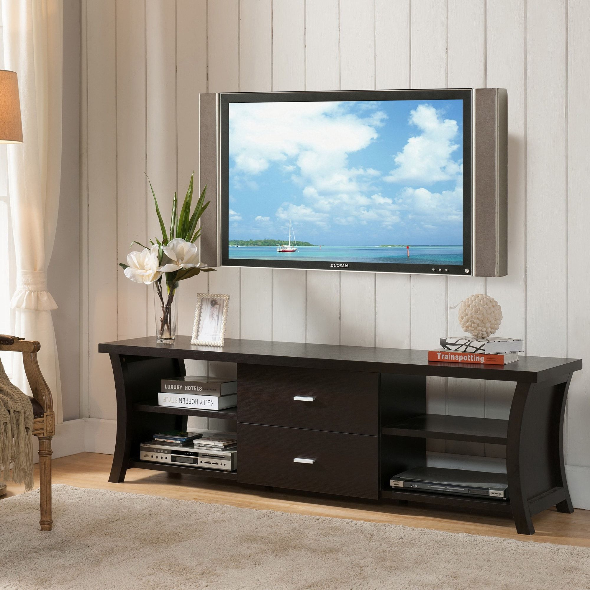 modern 2 drawer tv stand with open shelving 60 inch black rh pinterest com