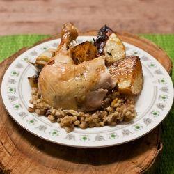 Roast Chicken w Festive Barley Stuffing.
