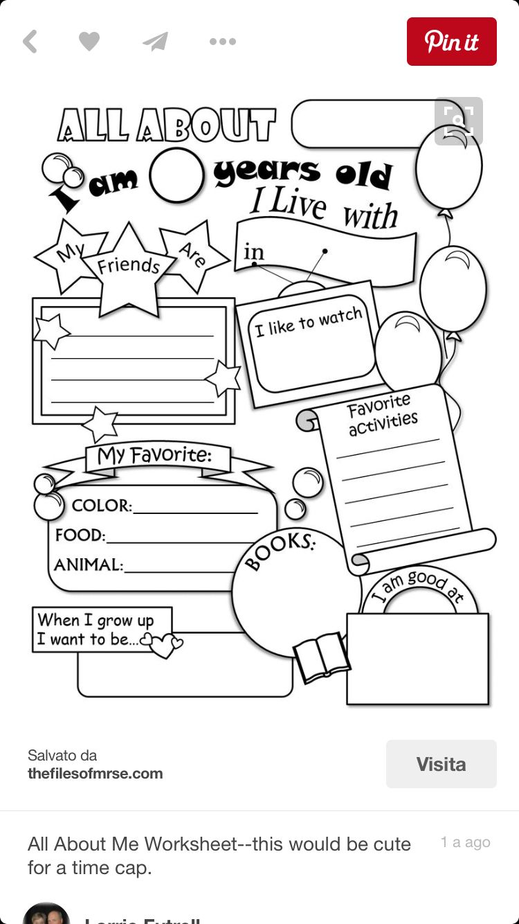 Pin By Susy Huerta On Jk All About Me Worksheet Worksheets For Kids School Activities
