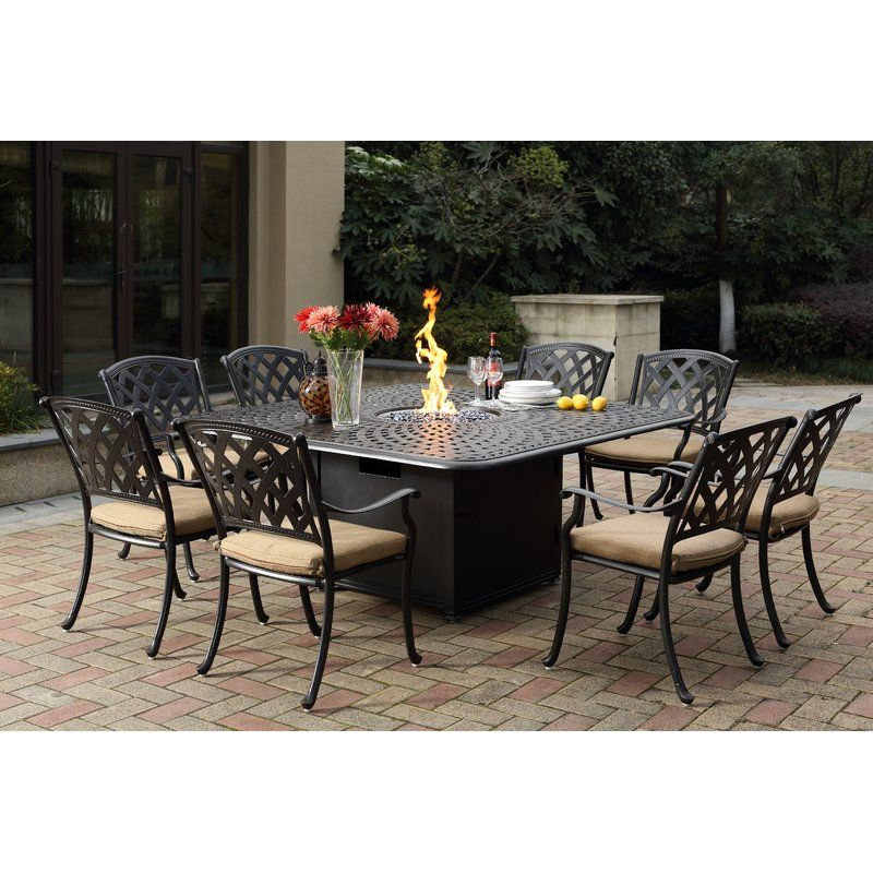 campton 9 piece dining set with firepit and cushion in 2019 2316 rh pinterest com
