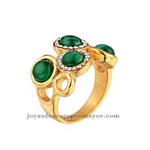 anillos de 4 peloticas con esmeralda de acero inoxidable