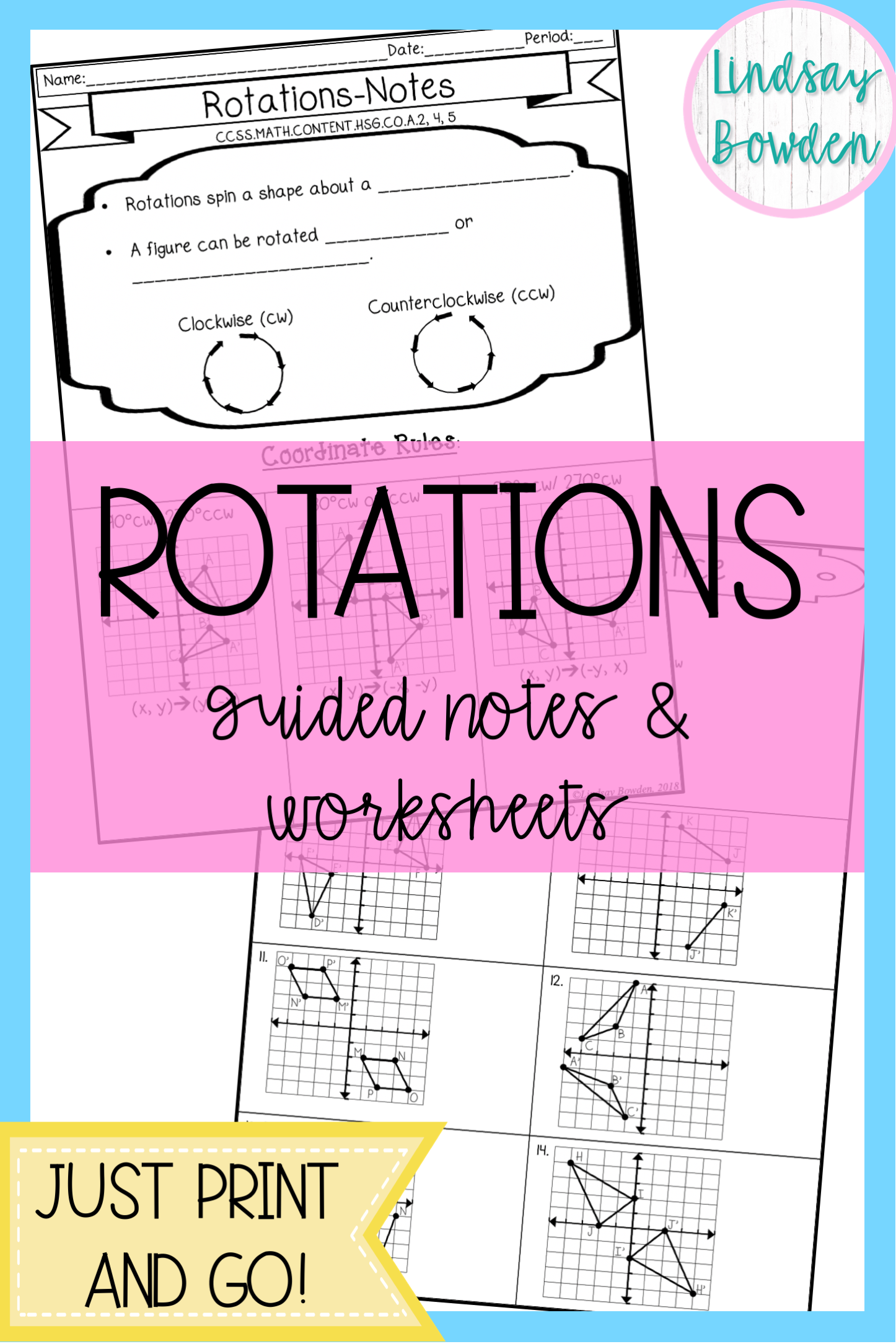 Rotation Guided Notes And Worksheet With Images