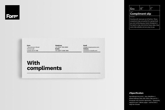 Compliment slip by Form Creative on @Graphicsauthor Templates