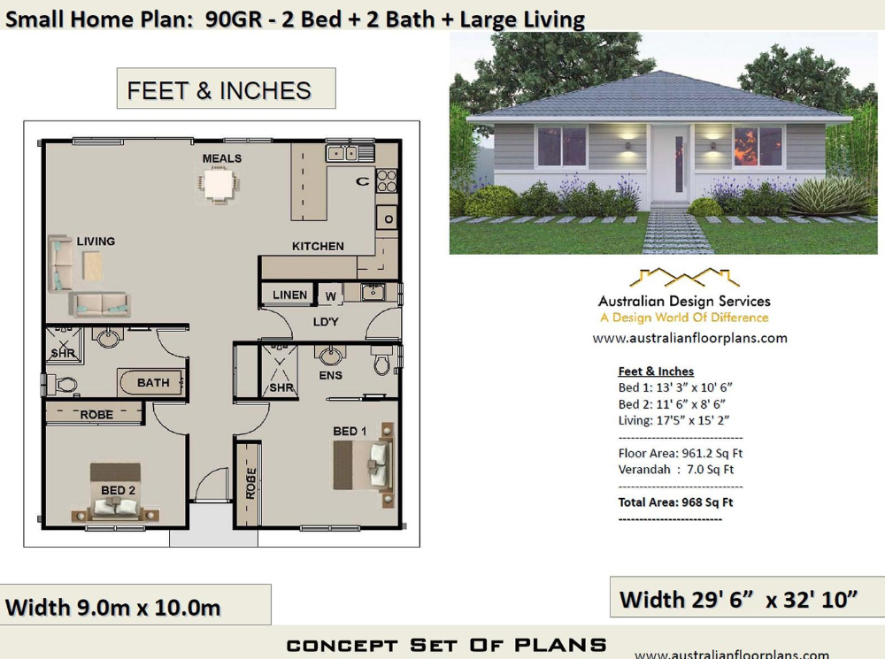 2 Bedroom House Plan 968 Sq Feet Or 90 M2 2 Small Home Etsy In 2020 House Plans Australia House Plans For Sale Small House Design