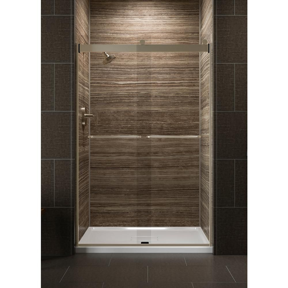 KOHLER Levity 48 in. x 74 in. Semi-Frameless Sliding Shower Door in Silver with Crystal Clear Glass and Handle #framelessslidingshowerdoors